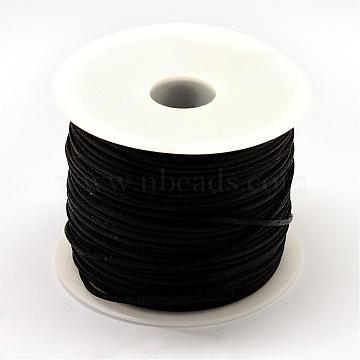 Nylon Thread, Rattail Satin Cord, Black, 1.0mm, about 76.55 yards(70m)/roll(NWIR-R025-1.0mm-900)