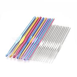 Crochets en aluminium de couleur au crochet et crochet de fer crochets aiguilles, couleur mixte, 125~150x2~6.5mm; goupille de fer: 0.6~1.9mm; broche en aluminium: 2.0~6.5mm; 22 pcs / ensemble(TOOL-R041-02A)