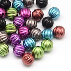 Mat jet rond acryliques peintes perles ondulées, couleur mixte, 10x10mm, trou: 2 mm; environ 560 pcs / 500 g(ACRP-Q017-04)