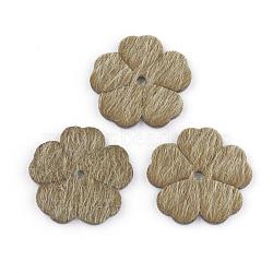 Pendentifs en cuir pu, avec faux tissu de crin, fleur, darkgoldenrod, 25.5x26x2mm, Trou: 2.5mm(FIND-T020-056B)