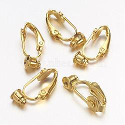Clip laiton sur convertisseur de boucle d'oreille, accessoires de boucles d'oreilles, or, 19x6x9mm, Trou: 1mm(KK-Q115-G)