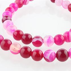 """Chapelets de perles rondes en pierre d'agate naturelle, teint, rose foncé, 6mm, trou: 1mm; environ 63 pcs/chapelet, 15.35""""(G-E232-08)"""