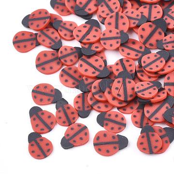 Handmade Polymer Clay Nail Art Decoration, Fashion Nail Care, Ladybug, Red, 5~6x4~5x0.5mm(X-CLAY-S091-20)