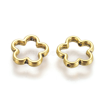 Tibetan Style Alloy Bead Frames, Flower, Great for Mother's Day Gifts making, Antique Golden, Lead Free, Cadmium Free and Nickel Free, Size: about 15mm in diameter, 2mm thick, hole: 1.5mm(X-GLF11215Y-NF)