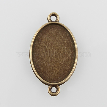 Oval Alloy Cabochon Connector Settings, Cadmium Free & Nickel Free & Lead Free, Antique Bronze, Tray: 25x18mm, 36x20.5x2mm, Hole: 2mm(X-PALLOY-N0087-08AB-NF)
