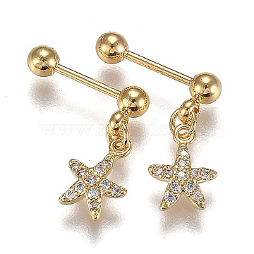 304 Stainless Steel Ear Fake Plugs Gauges, with Clear Cubic Zirconia, Star, Golden, 14.5mm, Pin: 0.8mm, 12pcs/set(EJEW-H113-03G)