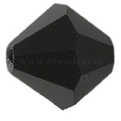 Perles de verre tchèques, facette, Toupie, noir, 6 mm de diamètre, Trou: 0.8mm, 144 pcs / brut(302_6mm280)