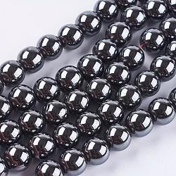 немагнитные синтетический гематит бисер пряди, вокруг, 10 mm, отверстия: 1.5 mm; о 42 шт / прядь