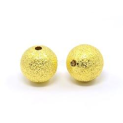 Entretoise ronde en laiton doré avec perles texturées de 12mm, Trou: 1.8mm(X-EC249-G)