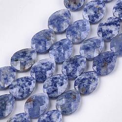 натуральные синие пятна яшмовых нитей, граненый, падение, 18x13~13.5x5.5~6 mm, отверстия: 1.2 mm; о 11 шт / прядь, 7.8(G-S354-10)