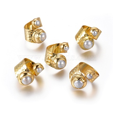 Adjustable Pearl Cuff Finger Rings, with Brass Findings, Golden, 18.5~20mm(RJEW-K229-H01)