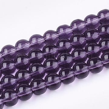 4mm Purple Round Glass Beads