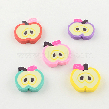 Handmade Apple Polymer Clay Cabochons, Mixed Color, 10~12x10~11x1~2mm(X-CLAY-R060-67A)
