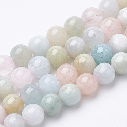 Chapelets de perles en morganite naturelle, rond, 8x7.5mm, trou: 1mm; environ 46~49 pcs/chapelet, 15.5''(G-S150-53-8mm)