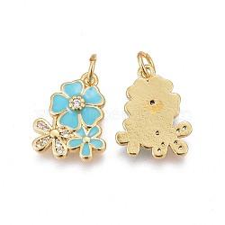 pendentifs en laiton, avec de la zircone cubique et de l'émail, fleur, or, Bleu ciel, 15.5~16x12.5x2.7~2.8 mm, trou: 3.2 mm(KK-E773-01D-G)