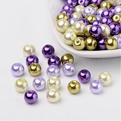 Lavande jardin perles perles nacrées mélange de verre, couleur mixte, 8mm, trou: 1 mm; environ 100 PCs / sachet (HY-X006-8mm-08)