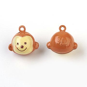 Brass Bell Pendants, Twelve Chinese Zodiac Signs, Monkey, 17~25x14~20x12.5~19mm, Hole: 2mm(IFIN-F149-H01)