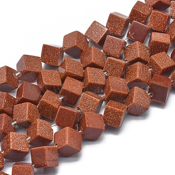 Synthetic Goldstone Beads Strands, Cube, 10.5x10.5x8mm, Hole: 1mm; about 38pcs/strand, 15.3''(39cm)(G-G793-11A-01)