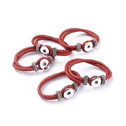 Кожа оснастки браслет материалы, с латунной досрочных кнопок и фурнитуров сплавов, красные, 230x19 мм; половина отверстие: 4x6 мм(AJEW-R022-03)