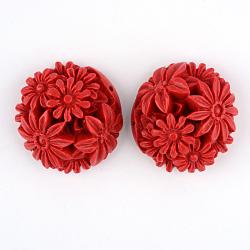 Cinnabar Links, Flower, FireBrick, 31x32x15~19mm, Hole: 2mm(CARL-Q004-82)