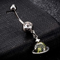Piercing Jewelry, Environmental Brass Cubic Zirconia Navel Ring, Belly Rings, with Use Stainless Steel Findings, Planet, Platinum, Olive Drab, 39x12mm; Pin: 1.5mm(AJEW-EE0003-02C)