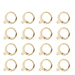 304 Stainless Steel Leverback Earring Findings, with Loop, Golden, 14.5x12mm, Hole: 1.2mm, Pin: 0.8x1mm(X-STAS-G081-62G)