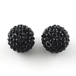 бисером горный хрусталь cmолы, с акриловыми круглыми бусинами внутри, для жевательной резинки ювелирных изделий, черный, 14 mm, отверстия: 2~2.5 mm(RESI-S315-12x14-01)