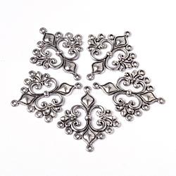 Anciennes liens de composants losange de lustre de style tibétain d'argent pour création de balancent la boucle d'oreille , sans plomb et sans cadmium et sans nickel, 36x30x2mm, Trou: 1.5mm(X-EA9734Y-NF)