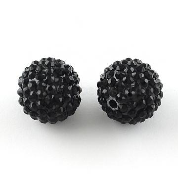 14mm Black Round Resin+Rhinestone Beads
