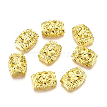 Alloy Multi-Strand Links, Rectangle with Flower, Golden, 15x11.5x5mm, Hole: 1.2mm(PALLOY-E454-12G)
