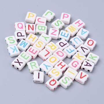 Acrylic Multi-Strand Links, Rectangle with Mixed Letter, Mixed Color, 8.5x7.5x4mm, Hole: 1.5mm(X-MACR-S273-54A)