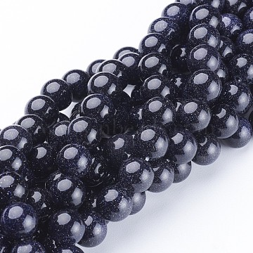 Synthetic Blue Goldstone Beads Strands, Round, 10mm, Hole: 1mm, about 38pcs/strand, 14.5 inches(X-GSR10mmC053)