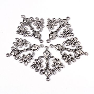 Antique Silver Tibetan Style Rhombus Chandelier Component Links for Dangle Earring Making, Lead Free and Cadmium Free and Nickel Free, 36x30x2mm, Hole: 1.5mm(X-EA9734Y-NF)