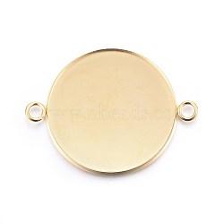 304 настройки разъема кабошона из нержавеющей стали, чашки безель с краем, плоские круглые, золотой, лоток: 30 мм; 42x32x2 мм, отверстия: 3 mm(X-STAS-F191-15G-J)