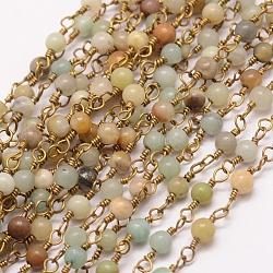 Main chaînes amazonite de perles, avec bobine, non soudée, avec épingle à œil en laiton, 6 mm; environ 10 m/rouleau(AJEW-P060-6mm-02)
