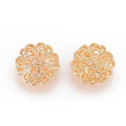 laiton perles en filigrane, rondelle, véritable plaqué or, 17x10 mm, trou: 1.8 mm(X-KK-T038-92G)