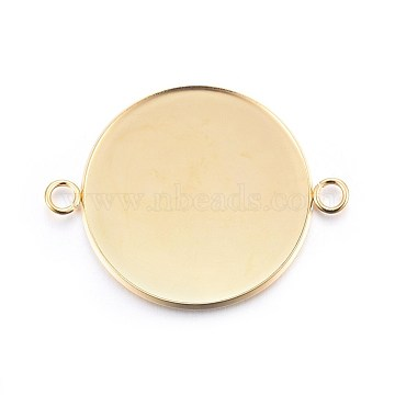 304 Stainless Steel Cabochon Connector Settings, Plain Edge Bezel Cups, Flat Round, Real 24K Gold Plated, Tray: 30mm; 42x32x2mm, Hole: 3mm(X-STAS-F191-15G-J)