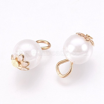 Imitation Pearl Charms, with Iron Findings, Round, Light Gold, 13x8mm, Hole: 2.5x3mm(X-IFIN-K038-03LG)