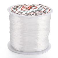 chaîne de cristal élastique plat, fil de perles élastique, pour la fabrication de bracelets élastiques, teints, blanc, 0.8 mm, environ 65.61 yards(60m)/rouleau