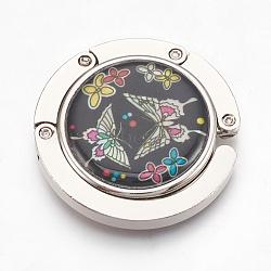 крючки вешалки мешка сплава цинка, с раковинами и стеклом, плоский круг с краном, платина, красочный, 44x9 mm(BAGH-WH0001-A04)