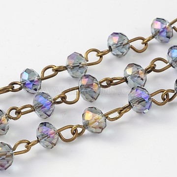 Handmade Electroplate Glass Faceted Rondelle Beads Chains for Necklaces Bracelets Making, with Antique Bronze Plated Brass Eye Pin, Unwelded, Medium Purple, 39.4 inches, about 92pcs/strand(X-AJEW-JB00147-03)
