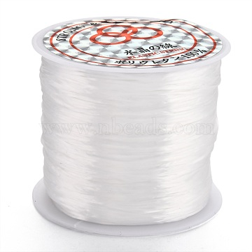 Flat Elastic Crystal String, Elastic Beading Thread, for Stretch Bracelet Making, Dyed, White, 0.8mm, about 65.61 yards(60m)/roll(X-EW014-1)