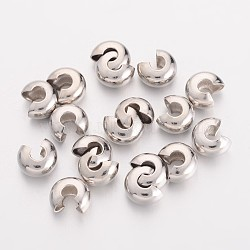 Brass Crimp Beads Covers, Nickel Free, Round, Platinum Color, About 5mm In Diameter, 4mm Thick, Hole: 2mm, about 106pcs/20g(X-EC266-2NF)