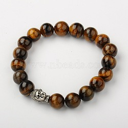 Natural Tiger Eye Stretch Bracelets, Buddhist Bracelets, with Tibetan Style Alloy Buddha Head Beads, Antique Silver, 2-1/8 inches(53mm)(X-BJEW-JB01329-01)