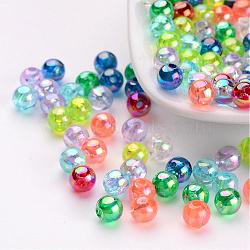 Couleur ab ronde transparente acrylique séparateurs perles mélangent, couleurs assorties, environ 5 mm de diamètre, Trou: 1.5mm(X-PL732M)