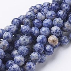 pierres précieuses perles, jaspe tache bleue naturelle, arrondir, cornflowerblue, 10 mm, trou: 1 mm; environ 39 perle / brin, 16(GSR10mmC036)