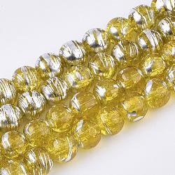 Chapelets de perles en verre transparent drawbench, style craquelé, rond, or, 8x7.5mm, trou: 1.5mm; environ 103~105 pcs/chapelet, 30.3''(GLAD-S090-8mm-09)