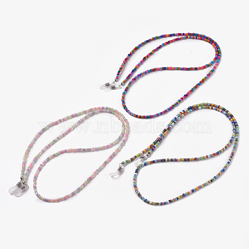 Eyeglasses Chains, Neck Strap for Eyeglasses, with Glass Seed Beads, Rubber Loop Ends and Brass Findings, Mixed Color, 30.9 inches(78.5cm), 3mm(X-AJEW-EH00004)