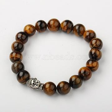 Natural Tiger Eye Stretch Bracelets, Buddhist Bracelets, with Tibetan Style Alloy Buddha Head Beads, Antique Silver, 2-1/8 inches(53mm)(X-BJEW-JB01329-01)