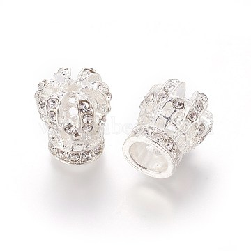 Alloy Rhinestone Beads, Crown, Crystal, Silver Color Plated, 16.5~17x15~16mm, Hole: 2.5mm and 7.5mm(PALLOY-E522-01S)